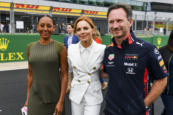 Melanie C, Geri Horner and Christian Horner, Team Principal, Red Bull Racing