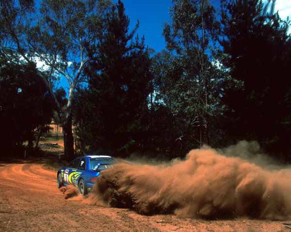 Richard Burns in action in the Subaru Impreza WRC2000, Rally Australia 2000.