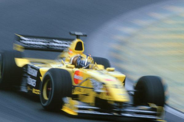 1999 Brazilian Grand Prix. Interlagos, Brazil. 9th - 11th April 1999. Heinz Harald Frentzen (Jordan Mugen Honda). Action.  World Copyright:Charles Coates/LAT Photographic. Ref:35mm Image: 99 BRA 93