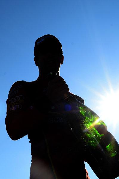 2016/2017 FIA Formula E Championship. Round 12 - Montreal ePrix, Canada Sunday 30 July 2017. Lucas Di Grassi (BRA), ABT Schaeffler Audi Sport, Spark-Abt Sportsline, ABT Schaeffler FE02, celebrates with champagne on the podium. Photo: Patrik Lundin/LAT/Formula E ref: Digital Image PL1_3824 copy