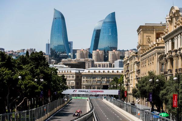 2017 FIA Formula 2 Round 4. Baku City Circuit, Baku, Azerbaijan. Friday 23 June 2017. Sergio Canamasas (ESP, Trident), Charles Leclerc (MCO, PREMA Racing)  Photo: Zak Mauger/FIA Formula 2. ref: Digital Image _56I6649