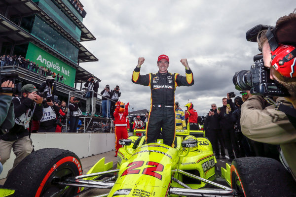 12-14 May, 2016, Indianapolis, Indiana, USA Simon Pagenaud celebrates getting out of the car ?2016, Sam Cobb LAT Photo USA