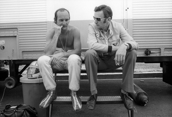 Mike Hailwood (GBR) McLaren, who crashed out of the race on lap 12, chews his nails as he talks with Phil Kerr (NZL) McLaren Racing Director.Monaco Grand Prix, Rd 6, Monte Carlo, Monaco, 26 May 1974.
