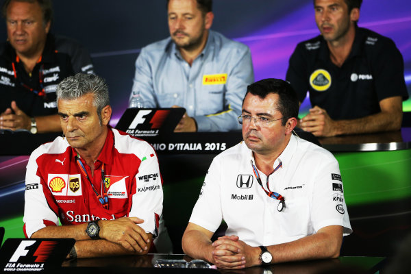 Autodromo Nazionale di Monza, Monza, Italy. Friday 4 September 2015. Mauricio Arrivabene, Team Principal, Ferrari, and Eric Boullier, Racing Director, McLaren, in the Team Principals Press Conference. World Copyright: Jed Leicester/LAT Photographic ref: Digital Image JL2_8023