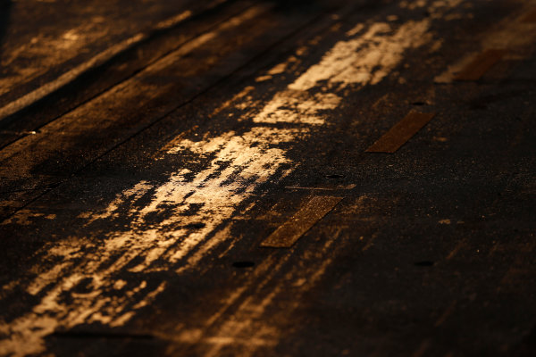 Hungaroring, Budapest, Hungary. Friday 24 July 2015. Track surface detail as the sun rises. World Copyright: Charles Coates/LAT Photographic ref: Digital Image _N7T6220