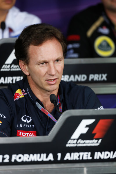 2012 Indian Grand Prix - Friday Buddh International Circuit, New Delhi, India. 26th October 2012. Christian Horner, Team Principal, Red Bull Racing, in the Press Conference.  World Copyright:Andrew Ferraro/LAT Photographic ref: Digital Image _79P8473