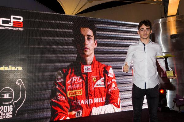 2016 GP2/3 Awards Evening. Yas Marina Circuit, Abu Dhabi, United Arab Emirates. Sunday 27 November 2016. Charles Leclerc Photo: Sam Bloxham/GP2 Series Media Service/GP3 Series Media Service. ref: Digital Image _SLA9823