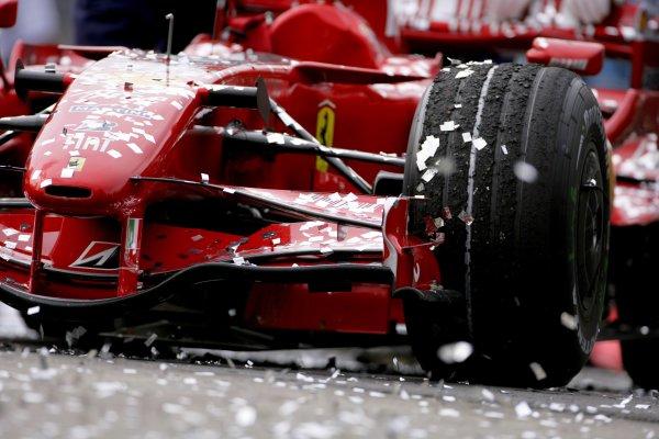 2007 Brazilian Grand PrixInterlagos, Sao Paulo, Brazil19th - 21st October 2007.Kimi Raikkonen's Ferrari F2007 covered in celebratory ticker tape.World Copyright: Lorenzo Bellanca/LAT Photographicref: Digital Image ZD2J5151