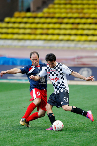 Monte Carlo, Monaco. Tuesday 19 May 2015. Sergio Perez, Force India, at the 22nd World Stars football match. World Copyright: Charles Coates/LAT Photographic. ref: Digital Image _N7T9203
