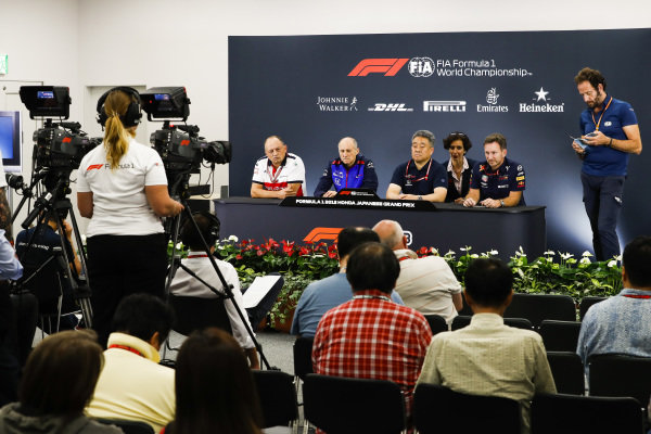 Frederic Vasseur, Team Principal, Alfa Romeo Sauber F1 Team, Franz Tost, Team Principal, Scuderia Toro Rosso, Masashi Yamamoto, General Manager, Honda Motorsport, and Christian Horner, Team Principal, Red Bull Racing, in the Team Principals Press Conference