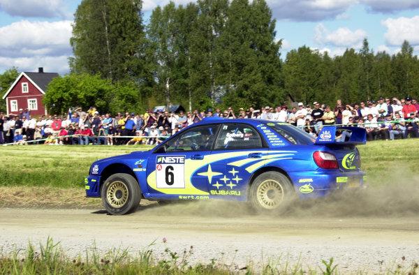 2001 World Rally Championship.Neste Rally Finland. Jyvaskyla, August 24-26, 2001.Petter Solberg on stage 4.Photo: Ralph Hardwick/LAT