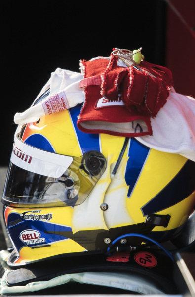Memo Gidley's helmet, balaclava and gloves.