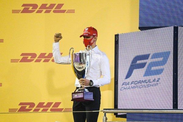 F2 Championship 1st postion Mick Schumacher (DEU, PREMA RACING) celebrates on the podium with the trophy