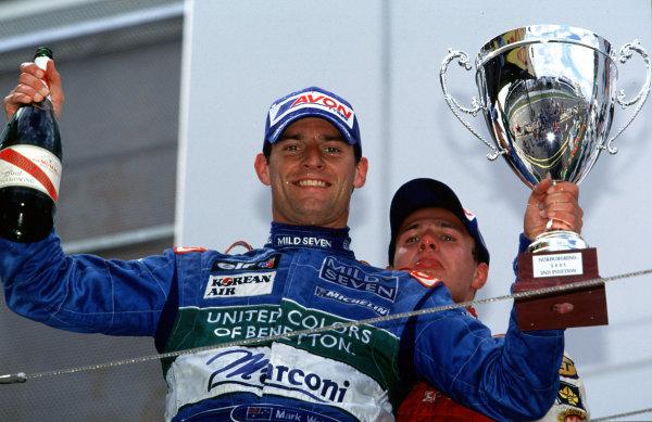 2001 International F3000Nurburgring, Germany. 22nd - 23rd June 2001.Mark Webber, Super Nova, 2nd position podium.World Copyright: Martyn Elford/LAT Photographicref: 35mm Image A01