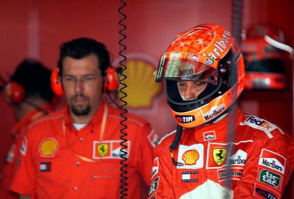 2001 Malaysian Grand Prix.Sepang, Kuala Lumpur, Malaysia. 16-18 March 2001.Michael Schumacher (Ferrari) 1st position.World Copyright - Steve Etherington/LAT Photographic.ref: 14mb Digital Image