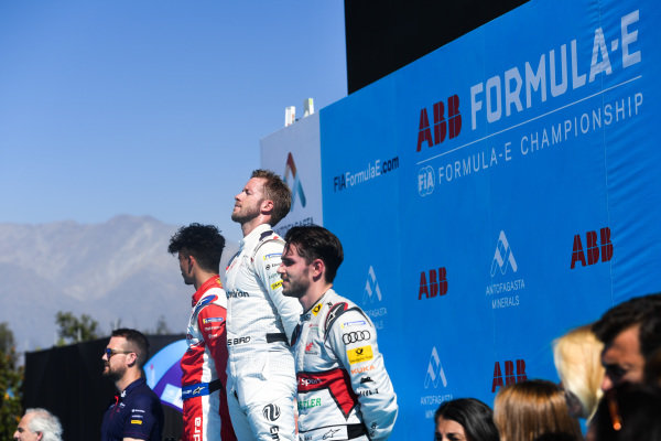Sam Bird (GBR), Envision Virgin Racing, 1st position, alongside Pascal Wehrlein (DEU), Mahindra Racing, 2nd position, Daniel Abt (DEU), Audi Sport ABT Schaeffler, 3rd position, and Leon Price, Team and Sporting manager, Envision Virgin Racing