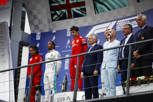 Laurent Mekies, Sporting Director, Ferrari, Lewis Hamilton, Mercedes AMG F1, 2nd position, Charles Leclerc, Ferrari, 1st position, and Valtteri Bottas, Mercedes AMG F1, 3rd position, on the podium