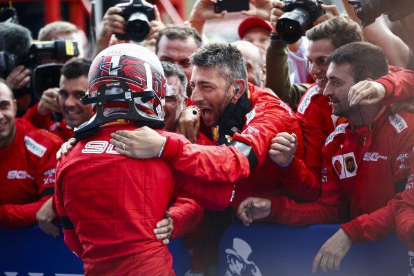 Charles Leclerc, Ferrari, celebrates victory in parc ferme