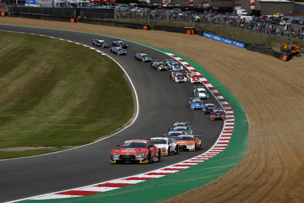 Start action, Loic Duval, Audi Sport Team Phoenix, Audi RS 5 DTM leads.