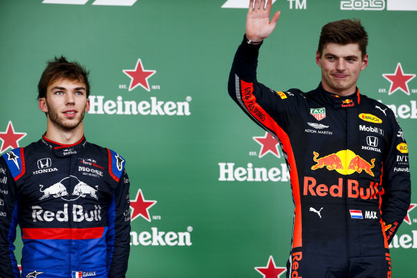 Pierre Gasly, Toro Rosso and Race Winner Max Verstappen, Red Bull Racing celebrate on the podium