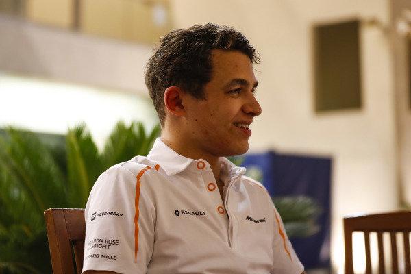 Lando Norris, McLaren, talks to the media.