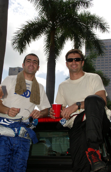 2002 Miami CART, 6 October, 2002, Miami, Florida, USA.Dario Franchitti and Christian Fittipaldi in their parade truck-2002, Lesley Ann Miller, USALAT Photographic