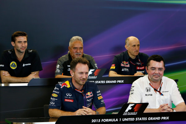 Circuit of the Americas, Austin, Texas, United States of America.  Friday 23 October 2015. Matthew Carter, CEO, Lotus F1 Team, Vijay Mallya, Team Principal and Managing Director, Force India, Franz Tost, Team Principal, Toro Rosso, Eric Boullier, Racing Director, McLaren, and Christian Horner, Team Principal, Red Bull Racing, in the Team Principal Press Conference. World Copyright: Andrew Ferraro/LAT Photographic ref: Digital Image _FER6340