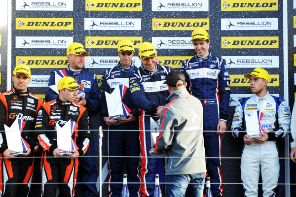 2017 European LeMans Series, Silverstone, 13th-15th April 2017, P2 Podium, William Owen (USA) / Hugo de Sadeleer (CHE) / Filipe Albuquerque (PRT) - UNITED AUTOSPORTS - Ligier JSP217 - Gibson wins World Copyright. JEP/LAT Images