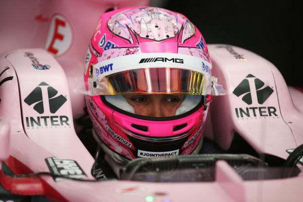 Sochi Autodrom, Sochi, Russia. Friday 28 April 2017. Esteban Ocon, Force India, in cockpit with helmet visor open. World Copyright: LAT Images ref: Digital Image DJ5R2493