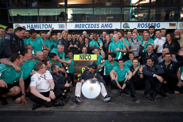 Albert Park, Melbourne, Australia. Sunday 16 March 2014. Nico Rosberg, Mercedes AMG, 1st Position, celebrates with his team after the race. World Copyright: Steve Etherington/LAT Photographic. ref: Digital Image SNE13858 copy