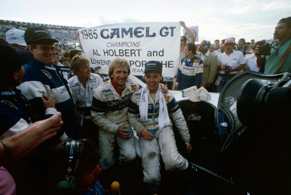 Pocono 500 Kms, Long Pond, Pennsylvania, USA. 8th September 1985. Rd 14. Al Holbert (Porsche 962), 1st position in the championship with Derek Bell (Porsche 962), 2nd position in the Championship, portrait. World Copyright: LAT Photographic. Ref:  85IMSA POC03.