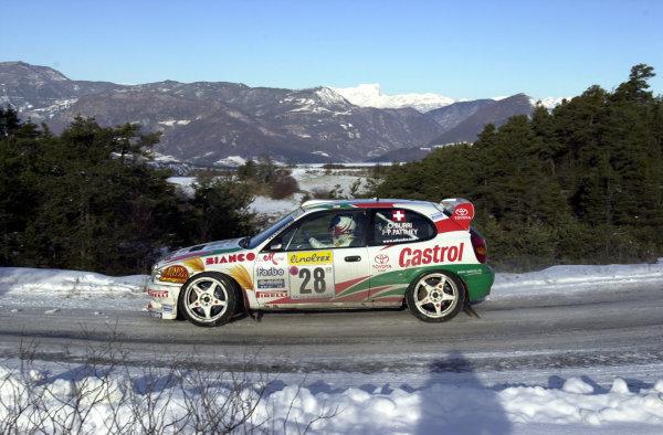 2001 World Rally Championship. Monte Carlo Rally,  Monaco. 18th -21st January 2001. Rd 1. Olivier Burri on Stage 7. World Copyright: Ralph Hardwick/ LAT Photographic. Ref: Burri3