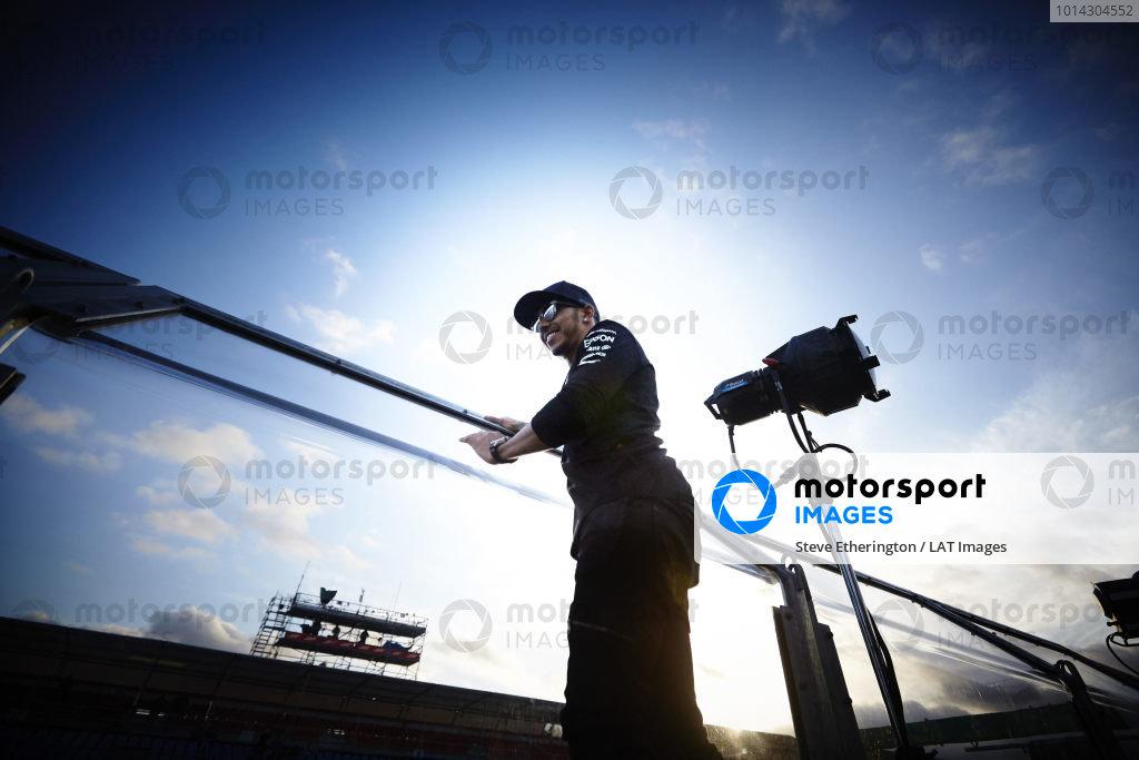Albert Park, Melbourne, Australia. Sunday 15 March 2015. Lewis Hamilton, Mercedes AMG celebrates with the fans. World Copyright: Steve Etherington/LAT Photographic. ref: Digital Image SNE11728