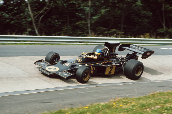 1973 German Grand Prix.  Nurburgring, Germany. 3-5th August 1973.  Ronnie Peterson (Lotus 72D-Ford), retired.  Ref: 73GER29. World Copyright: LAT Photographic