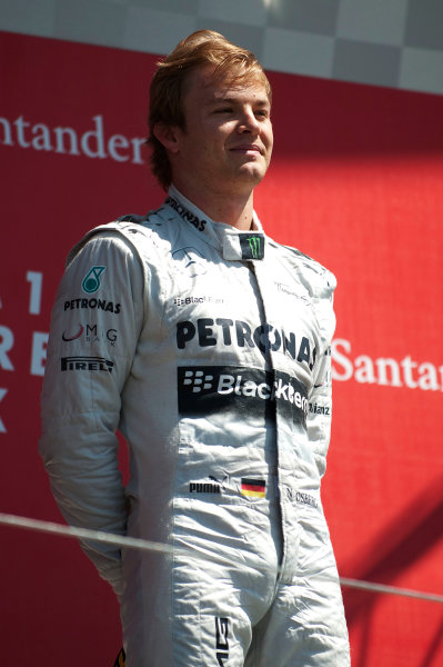 Silverstone, Northamptonshire, England 30th June 2013 Nico Rosberg, Mercedes AMG, 1st position, on the podium World Copyright: Chris Bird/  ref: Digital Image _CJB6748