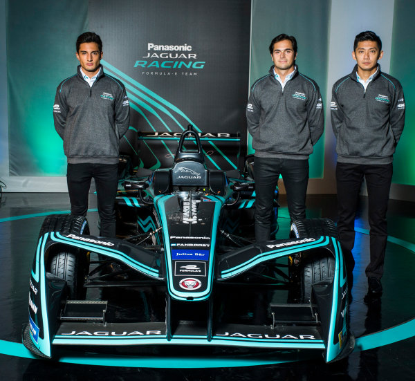 Panasonic Jaguar Racing RE:CHARGE LIVE EVENT Whitely Engineering Centre, Warwickshire, UK Thursday 21 September 2017. Mitch Evans, Nelson Piquet Jr, and Ho-Pin Tung Photo: Andrew Ferraro/LAT/Jaguar ref: Digital Image _FER7248