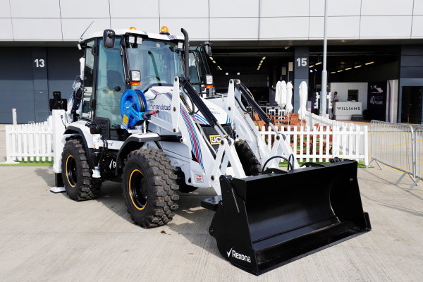 Williams 40 Event Silverstone, Northants, UK Friday 2 June 2017. A Williams-branded JCB on display next to the Silverstone Wing. World Copyright: Zak Mauger/LAT Images ref: Digital Image _56I9368