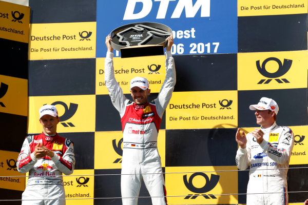 2017 DTM Round 3 Hungaroring, Budapest, Hungary. Sunday 18 June 2017. Podium: Race winner René Rast, Audi Sport Team Rosberg, Audi RS 5 DTM World Copyright: Alexander Trienitz/LAT Images ref: Digital Image 2017-DTM-R3-HUN-AT1-2750