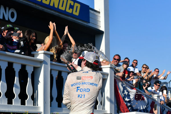 Monster Energy NASCAR Cup Series AXALTA presents the Pocono 400 Pocono Raceway, Long Pond, PA USA Sunday 11 June 2017 Ryan Blaney, Wood Brothers Racing, Motorcraft/Quick Lane Tire & Auto Center Ford Fusion celebrates in victory lane  World Copyright: Logan Whitton LAT Images ref: Digital Image 17POC1LW3345