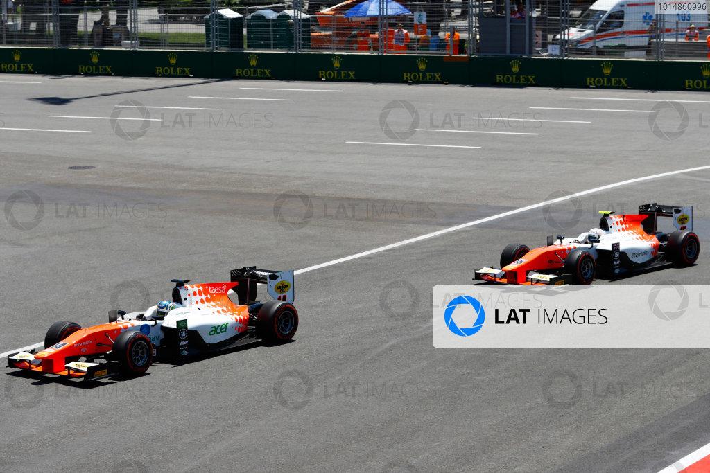 Baku City Circuit, Baku, Azerbaijan. Saturday 24 June 2017. Sergio Sette Camara (BRA, MP Motorsport) and Luca Ghiotto (ITA, RUSSIAN TIME)  World Copyright: Steven Tee/LAT Images ref: Digital Image _R3I2642