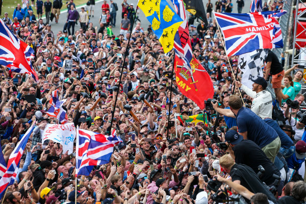 Silverstone, Northamptonshire, UK.  Sunday 16 July 2017. Lewis Hamilton, Mercedes AMG, 1st Position, celebrates with an enormous home crowd. World Copyright: Coates/LAT Images  ref: Digital Image DJ5R7369