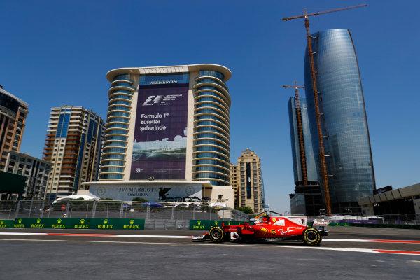 Baku City Circuit, Baku, Azerbaijan. Friday 23 June 2017. Kimi Raikkonen, Ferrari SF70H.  World Copyright: Steven Tee/LAT Images ref: Digital Image _O3I0715