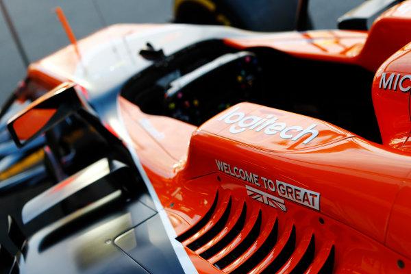 Baku City Circuit, Baku, Azerbaijan. Thursday 22 June 2017. McLaren cockpit protection detail. World Copyright: Steven Tee/LAT Images ref: Digital Image _R3I1396