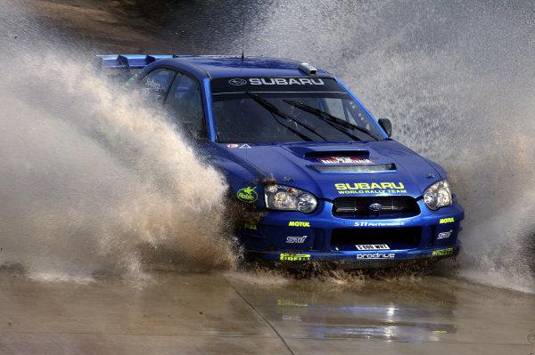 2003 FIA World Rally Champs. Round Ten Telstra Rally Australia 4th-7th September 2003.Petter Solberg, Subaru, action.World Copyright: McKlein/LAT