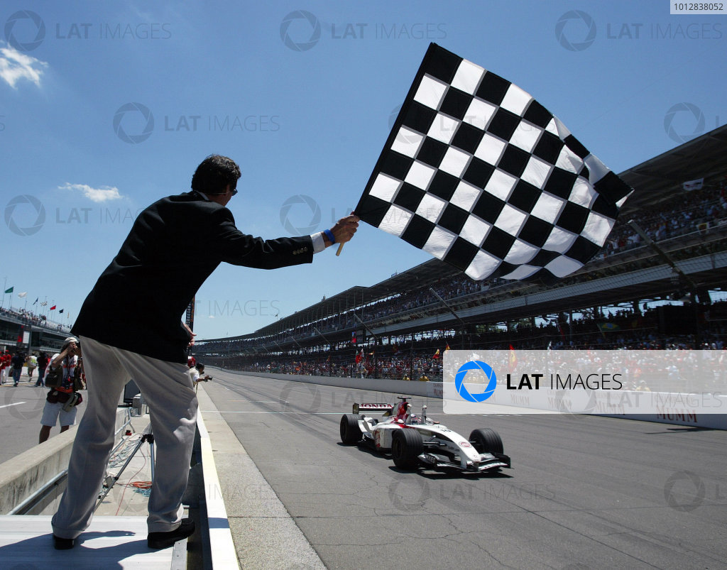2004 United States Grand Prix - Sunday Race,2004 United States Grand PrixIndianapolis, USA. 20th June 2004 Takuma Sato, BAR Honda 006 takes the chequered flag for his first ever F1 third place. Action. World Copyright: Steve Etherington/LAT Photographic ref: Digital Image Only