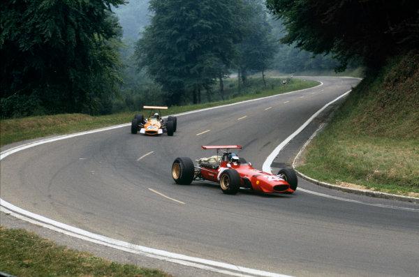 Rouen-Les-Essarts, France.  5-7 July 1968.  Jacky Ickx (Ferrari 312) 1st position leads Bruce McLaren (McLaren M7A Cosworth) 8th position Ref-68FRA15. World Copyright - LAT Photographic