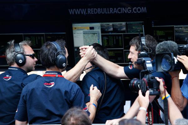 Autodromo Nazionale di Monza, Monza, Italy. Sunday 9th September MW Arden celebrate Mitch Evans (NZL, MW Arden) winning the 2012 GP3 Series. Portrait.  World Copyright: Glenn Dunbar/LAT Photographic Ref: Digital Image _89P9157.jpg