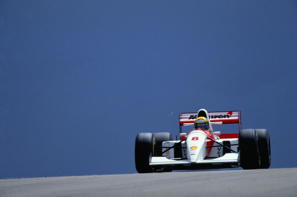 Silverstone, England.9th - 11th July 1993.Ayrton Senna (McLaren MP4/8 Ford) 1st position, action.Ref-93 GB24World Copyright - LAT Photographic