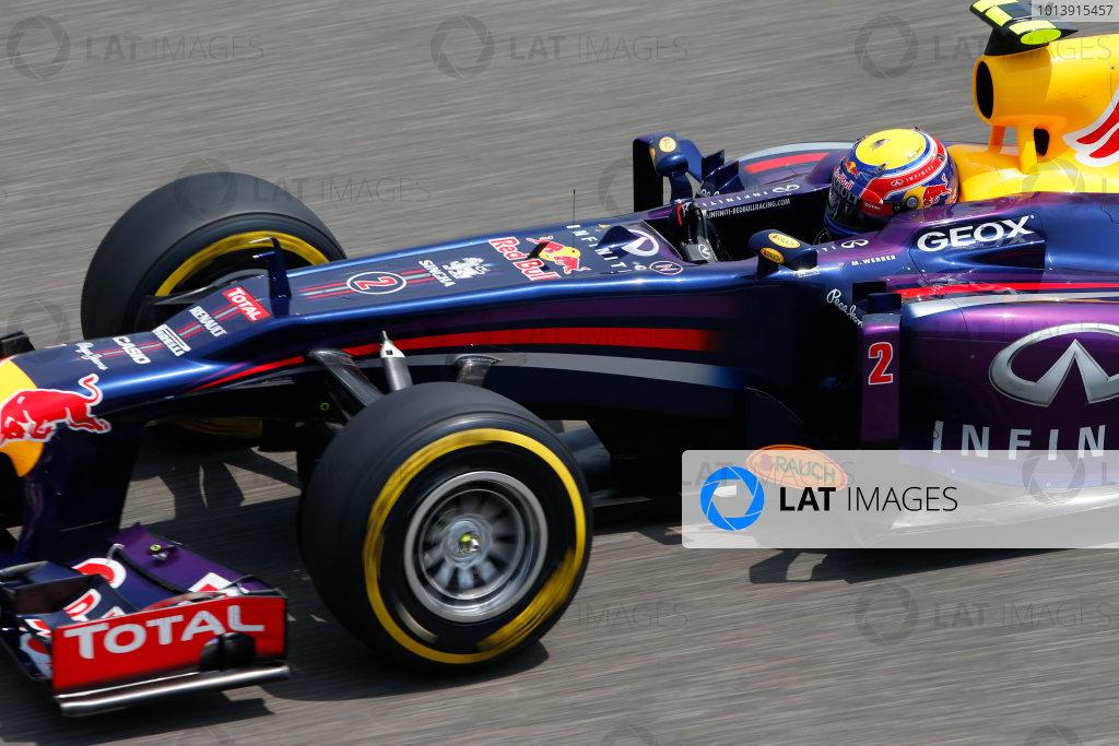 Shanghai International Circuit, Shanghai, China Saturday 13th April 2013 Mark Webber, Red Bull RB9 Renault.  World Copyright: Glenn Dunbar/LAT Photographic ref: Digital Image _89P6645