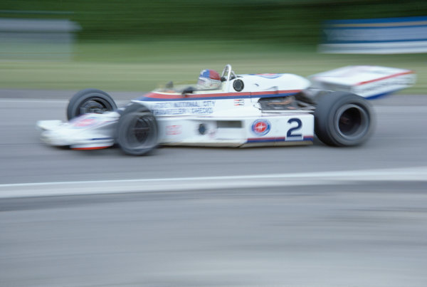 1977 USAC Indycar Series.Mosport Park, Canada. 3rd July 1977.Johnny Rutherford (McLaren-Cosworth), 9th position.World Copyright: Murenbeeld/LAT Photographic
